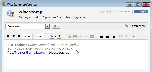 Adding an Email Signature in GMail with RSS